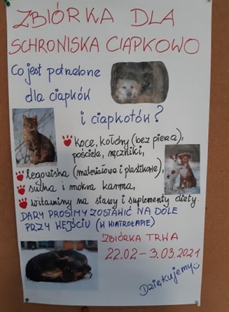 Zbiórka dla Schroniska ''Ciapkowo''