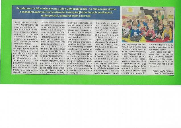 Artykuł o Przedszkolu nr 56 w gazecie