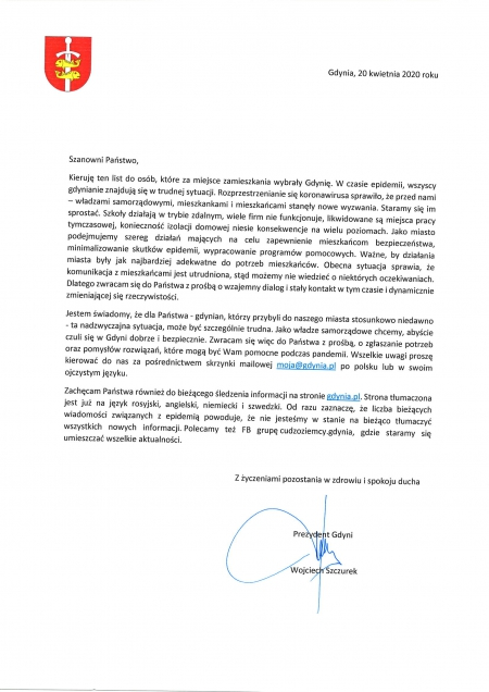 Pismo Prezydenta Gdyni