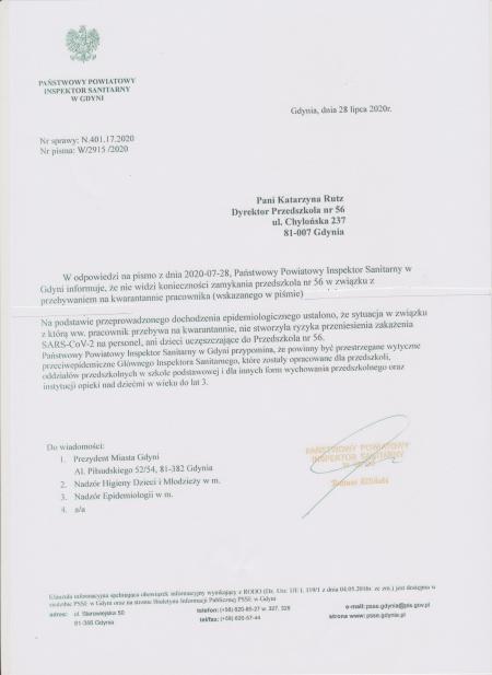 Informacja Powiatowego Inspektora Sanitarnego w Gdyni